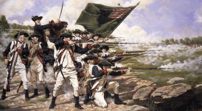 (The Delaware Regiment at the Battle of Long Island. Domenick D'Andrea, public domain)