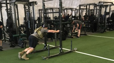 A green beret assigned to the 10th Special Forces Group (Airborne), conducts strength conditioning under the supervision of a Tactical Human Optimization, Rapid Rehabilitation and Reconditioning Program (THOR3) coordinator at the Group's strength and conditioning facility July 13, 2017. (U.S. Army photo by Spc. James Richardson).