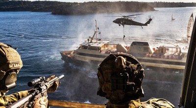 Australian Army soldiers from 2nd Commando Regiment secure a Sydney ferry in Middle Harbor, New South Wales, during counter-terrorism training. (Image courtesy of the Australian Ministry of Defense).