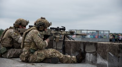 Rangers from 1st Battalion, 75th Ranger Regiment provide sniper cover during a USASOC exercise. (Image courtesy of USASOC.)