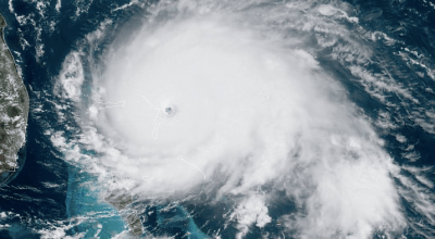 Hurricane Dorian at peak intensity as a Category 5 hurricane making landfall on the Abaco Islands in the Bahamas. (National Oceanic and Atmospheric Administration's GOES-East)