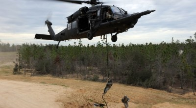 7th Special Forces Group operators fast-rope during a training exercise (DVIDS).