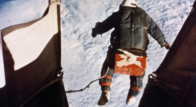 A very high-altitude jumper exiting a balloon gondola and headed home. (U.S. Air Force photo).