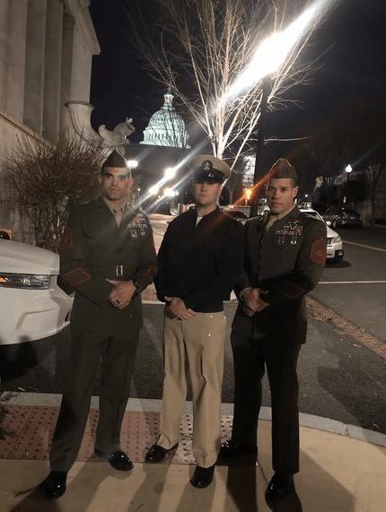 The MARSOC 3. Gunnery Sergeant Joshua Negron, Chief Petty Officer Eric Gilmet, and Gunnery Sergeant Daniel Draher.