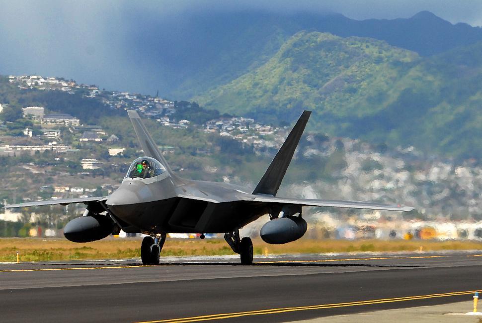 An F-22 Raptor in Hawaii.