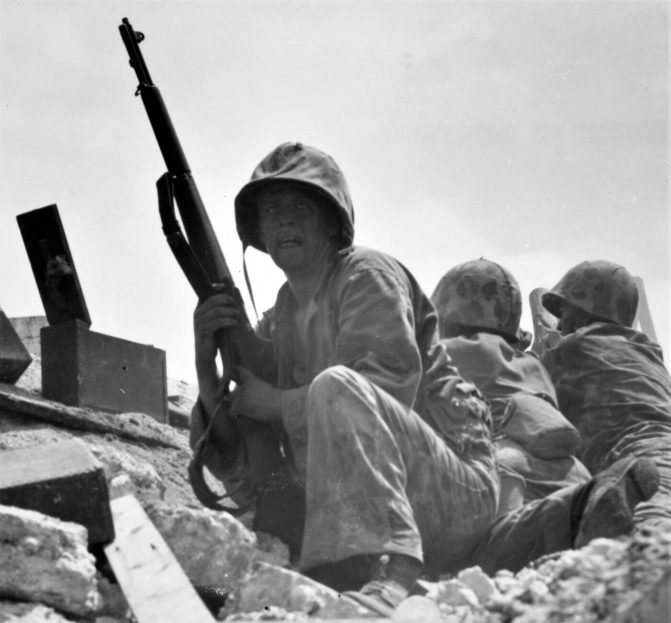 Marines in WWII using M1s.