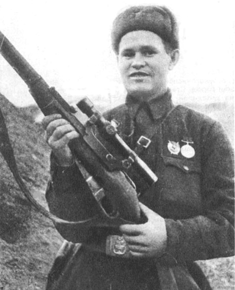 Vasily Zaytsev with his Mosin Nagant sniper rifle.