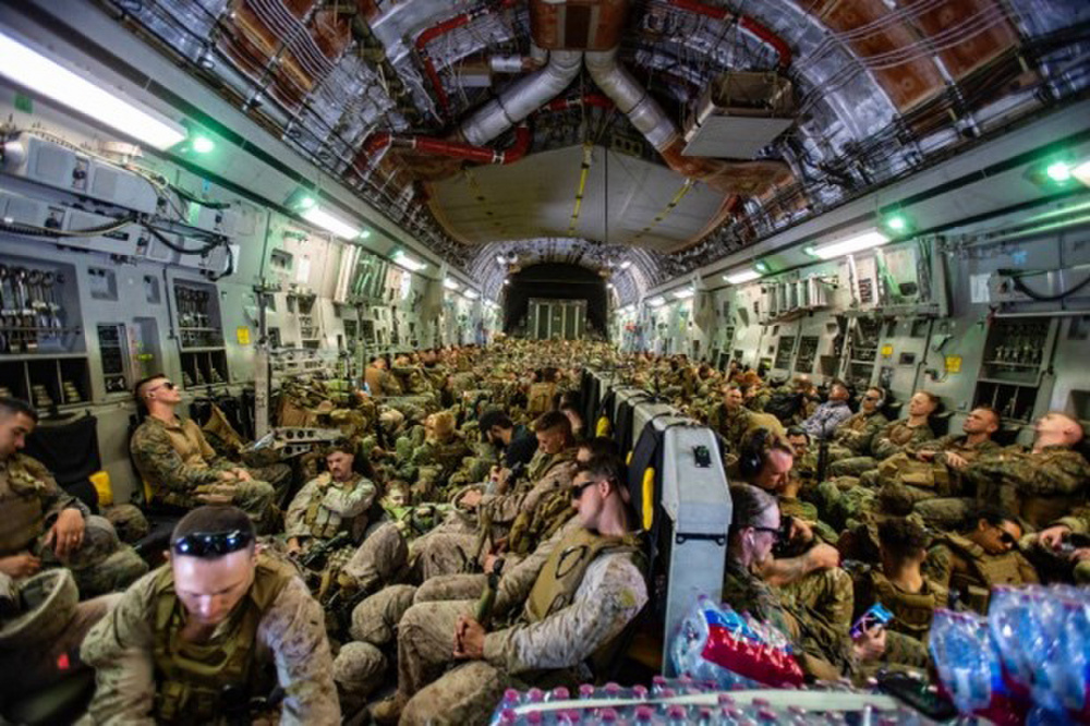 Marines in a plane