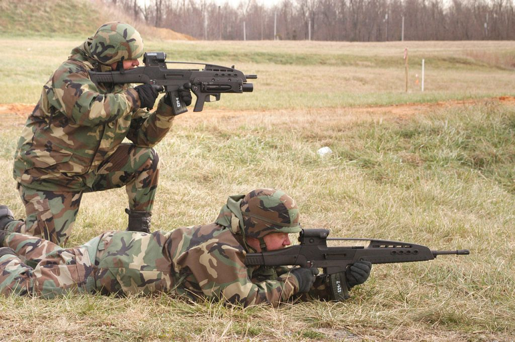 Soldiers practice with the XM8