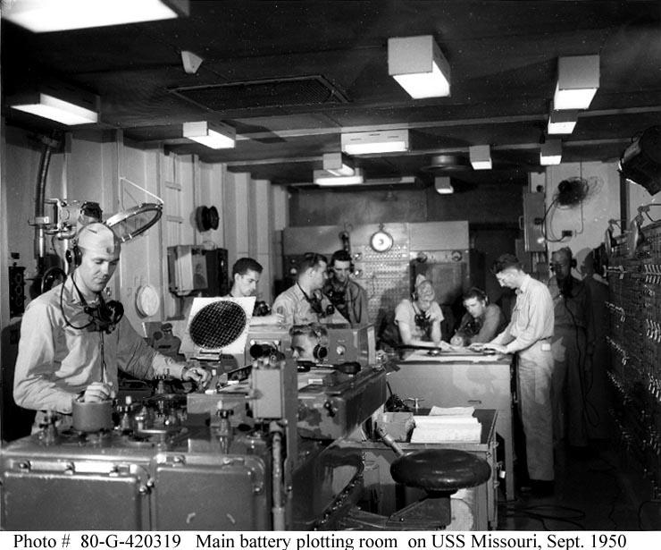 USS Missouri main battery plotting room