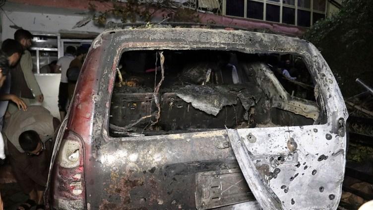 Destroyed vehicle dron strike Kabul