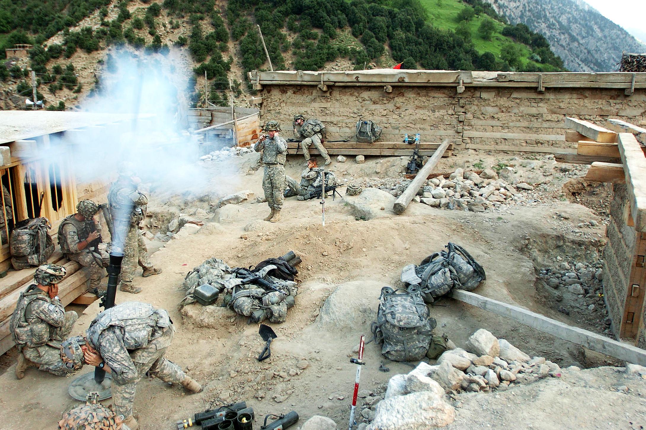 American soldiers mortar Taliban