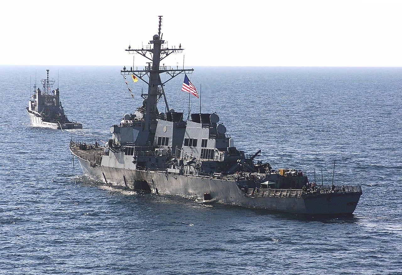 USS Cole towed