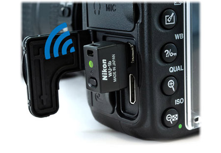 Optional WU 1b wireless mobile adapter for WiFi camera control and mobile sharing