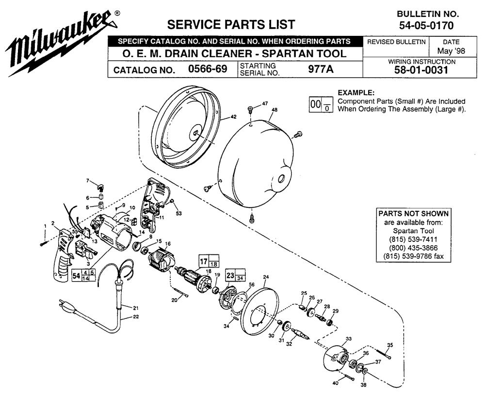 Buy Milwaukee 0566-69-(977A) O. E. M. Drain cleaner