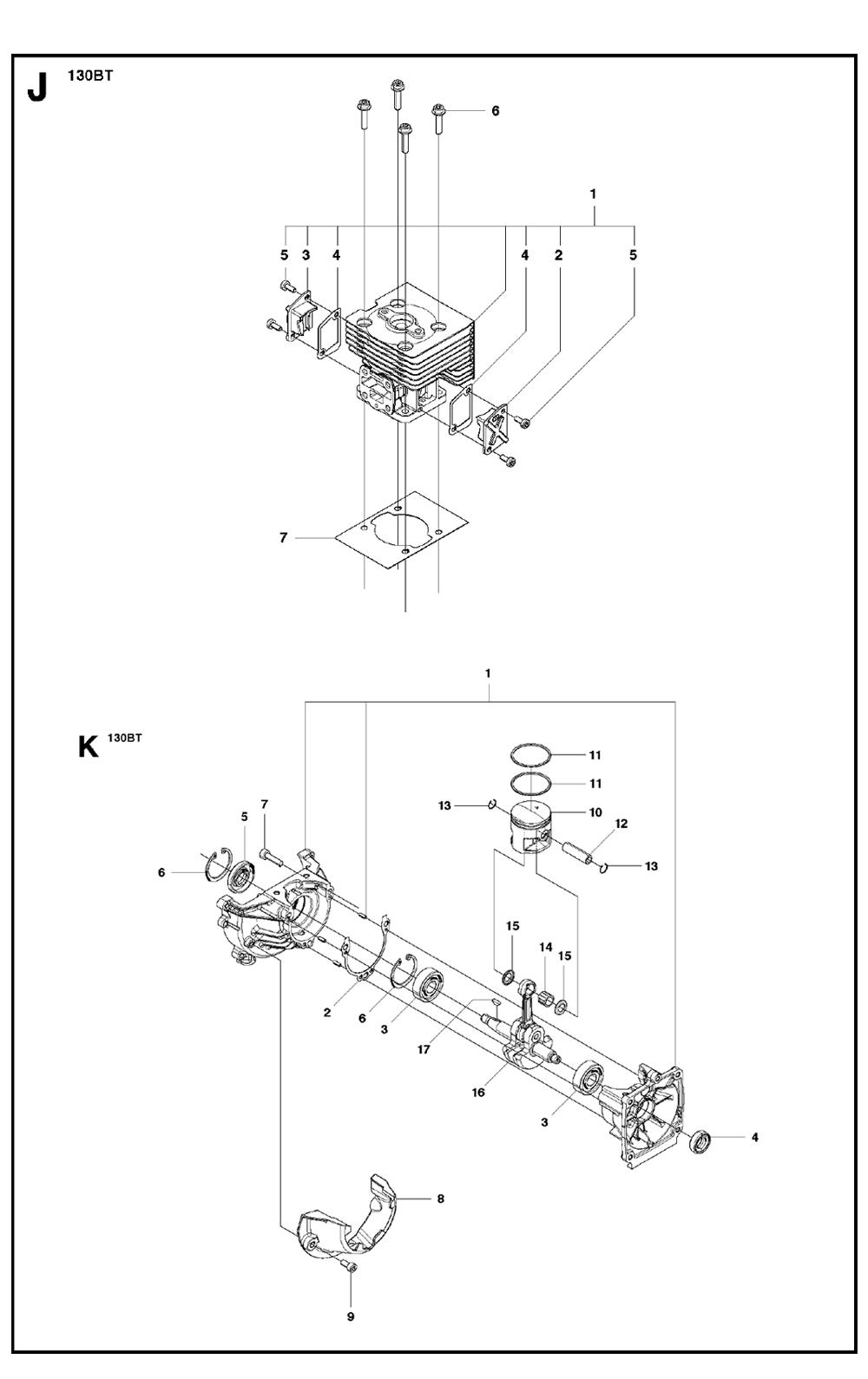 Buy Husqvarna 130BT Type-3 Replacement Tool Parts