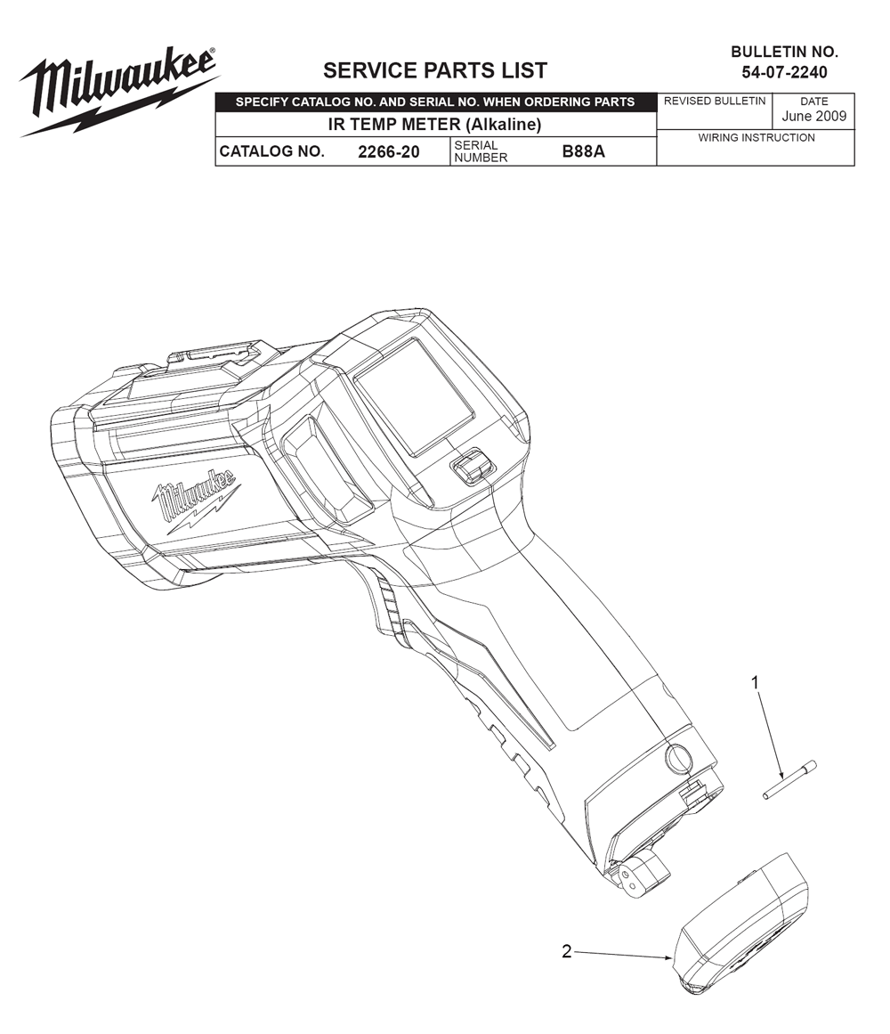 Buy Milwaukee 2266-20-(B88A) Replacement Tool Parts