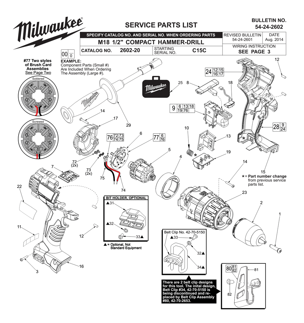 Buy Milwaukee 2602-20-(C15C) Replacement Tool Parts