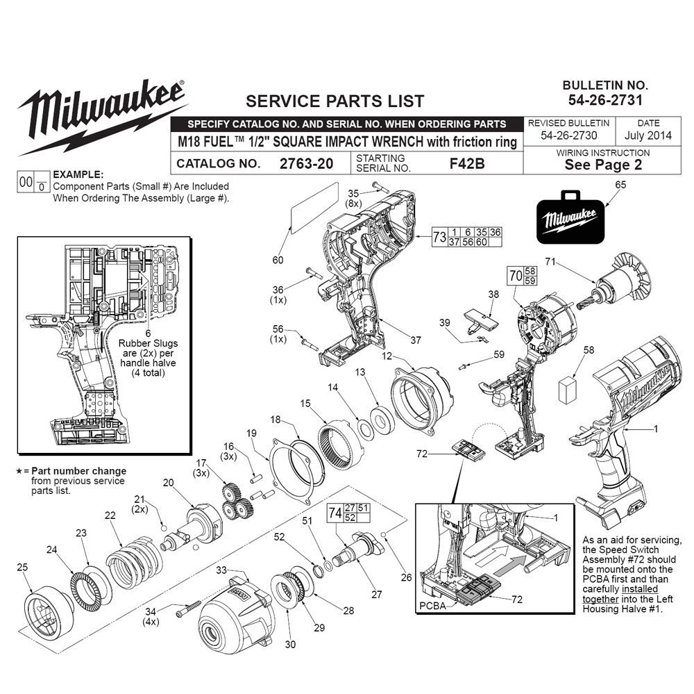 Buy Milwaukee 2763-20(F42B) Replacement Tool Parts