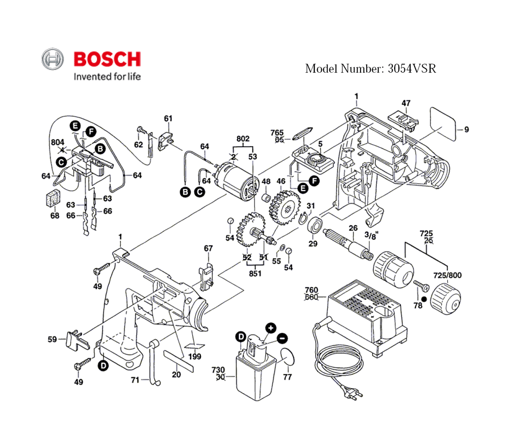 Buy Bosch 3054VSR-(0601931420) Replacement Tool Parts