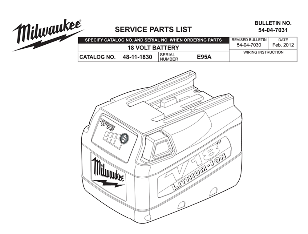 Buy Milwaukee 48-11-1830-(E95A) 18 volt battery