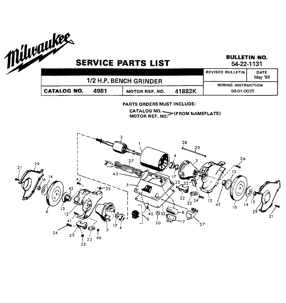 Buy Milwaukee 4981-(41882-K) 1/2 H.P. Bench Replacement