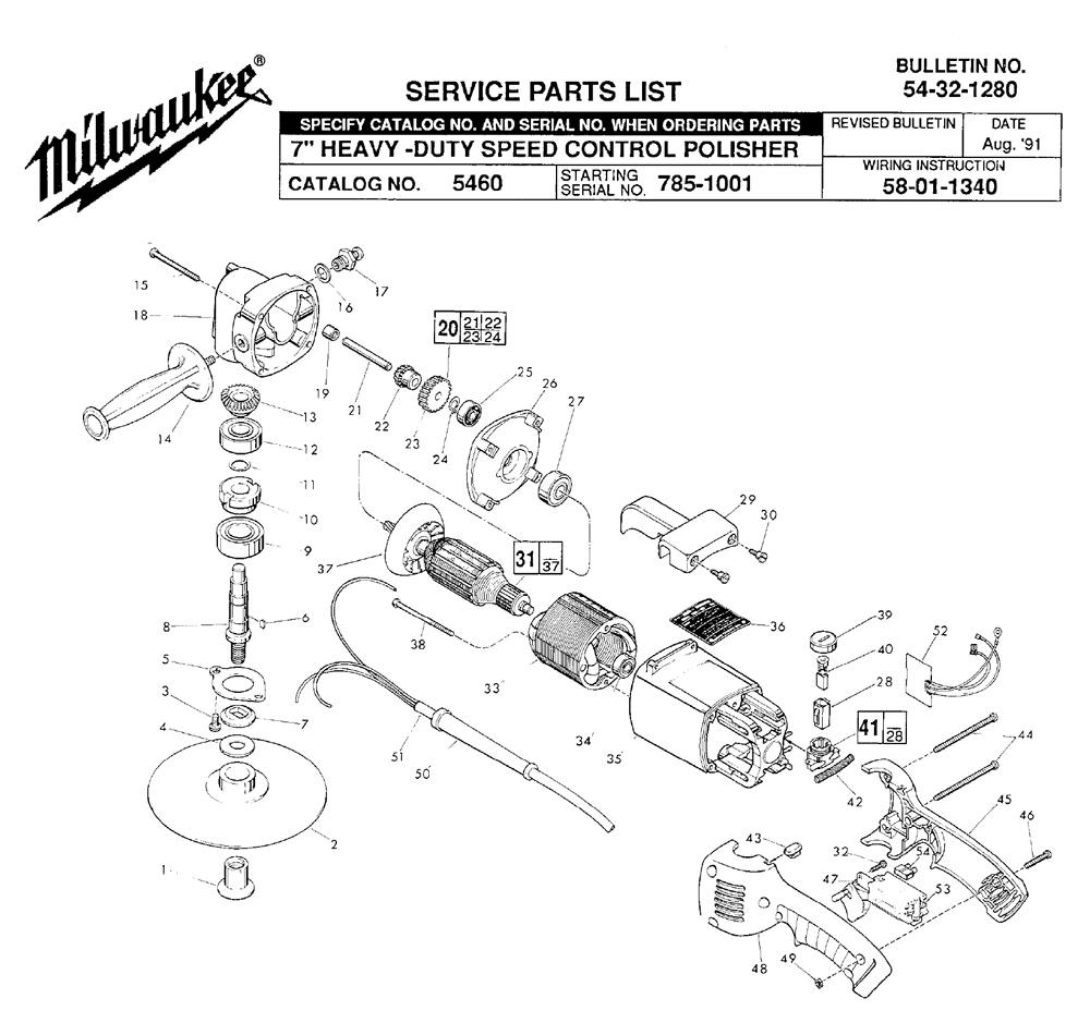 Buy Milwaukee 5460-(785-1001) Replacement Tool Parts