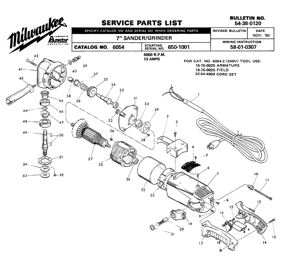 Buy Milwaukee 6054-(650-1001) Replacement Tool Parts
