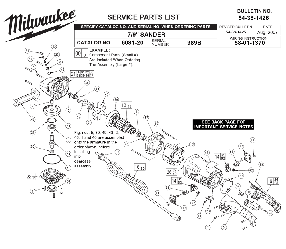 Buy Milwaukee 6081-20-(989B) Replacement Tool Parts