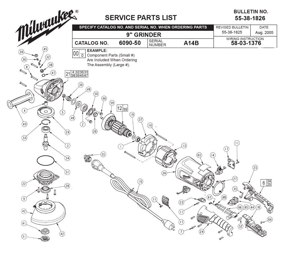 Buy Milwaukee 6090-50-(A14B) Replacement Tool Parts