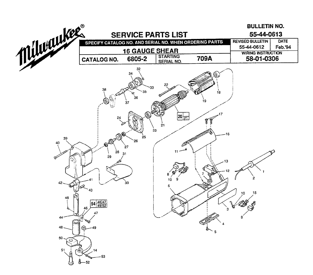 Buy Milwaukee 6805-2-(709A) Replacement Tool Parts
