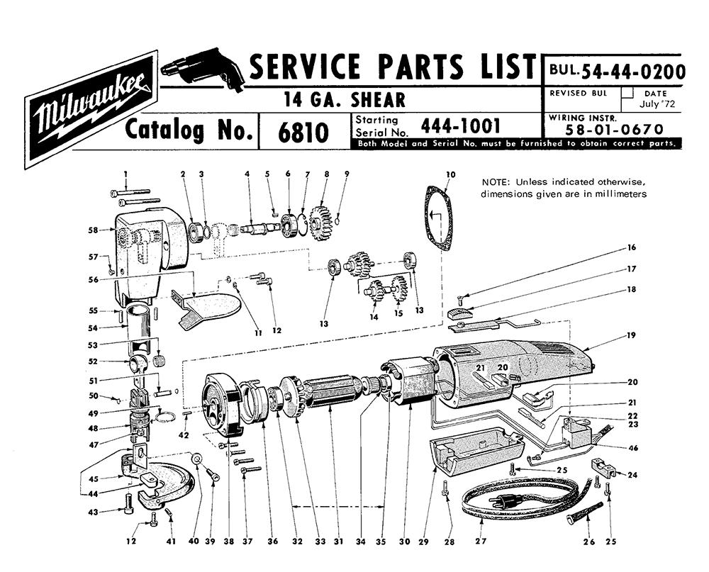 Buy Milwaukee 6810-(444-1001) 14 gauge shear Replacement