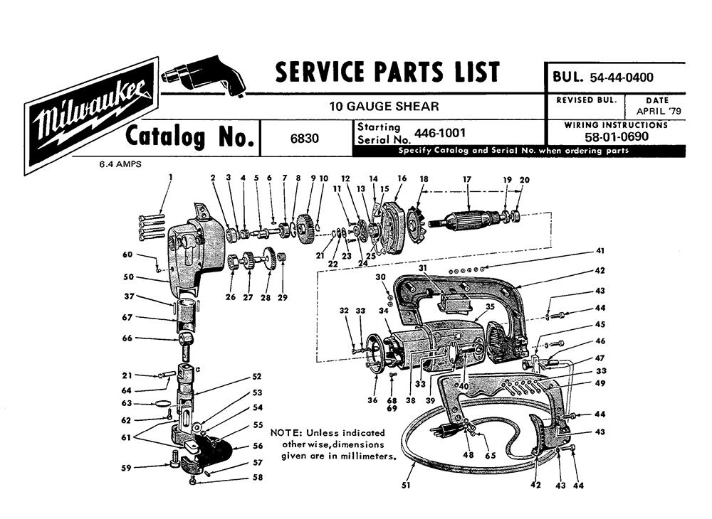Buy Milwaukee 6830-(446-1001) 10 gauge shear Replacement