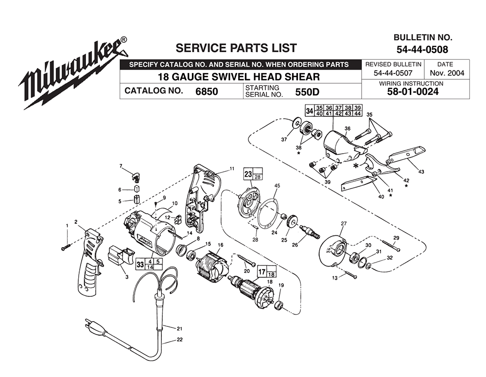 Buy Milwaukee 6850-(550D) Replacement Tool Parts