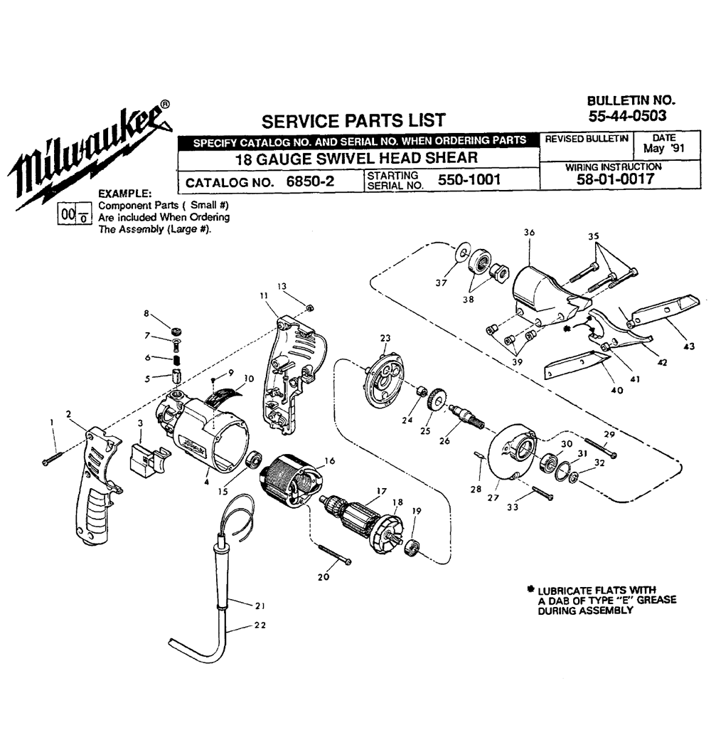 Buy Milwaukee 6850-2(550-1001) Replacement Tool Parts