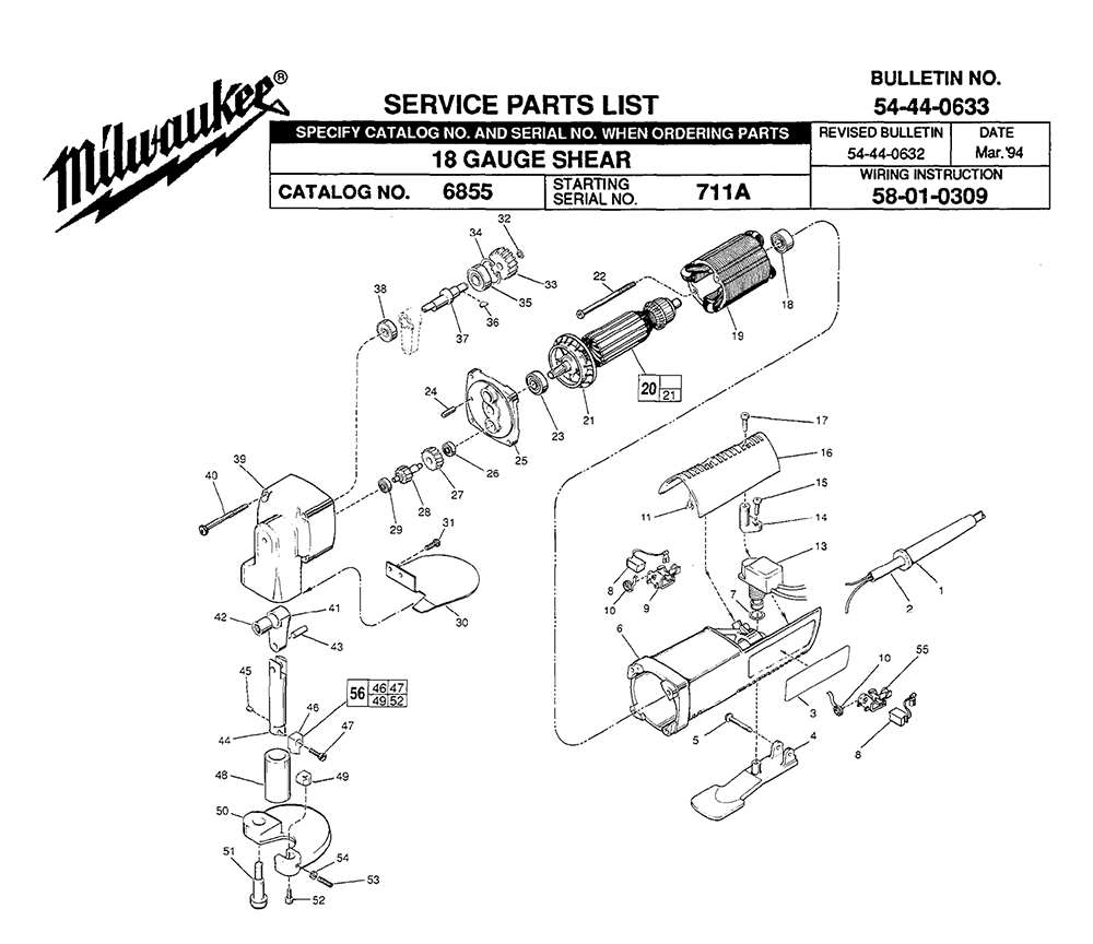 Buy Milwaukee 6855-(711A) Replacement Tool Parts