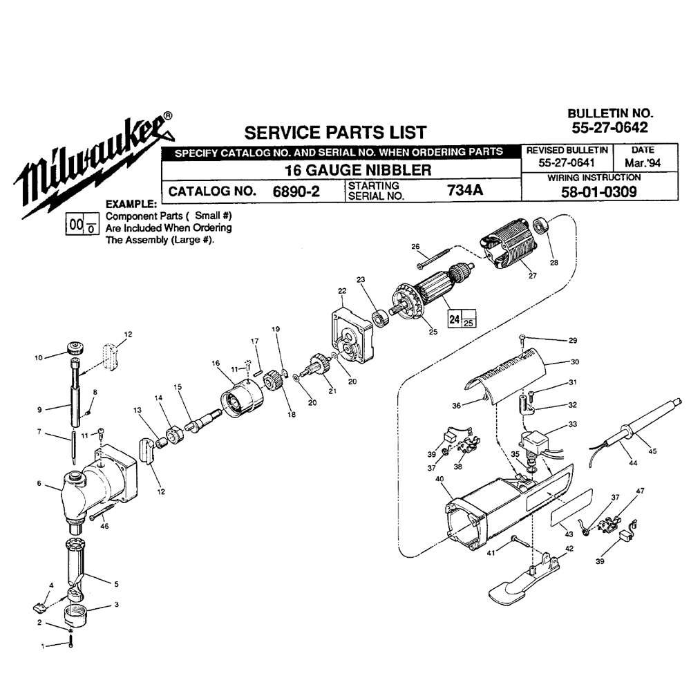 Buy Milwaukee 6890-2(734A) Replacement Tool Parts