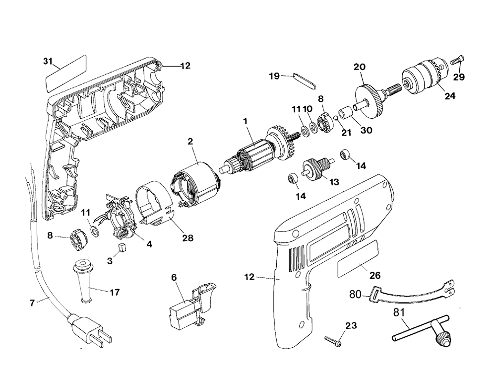 Electric Drill Parts Diagram