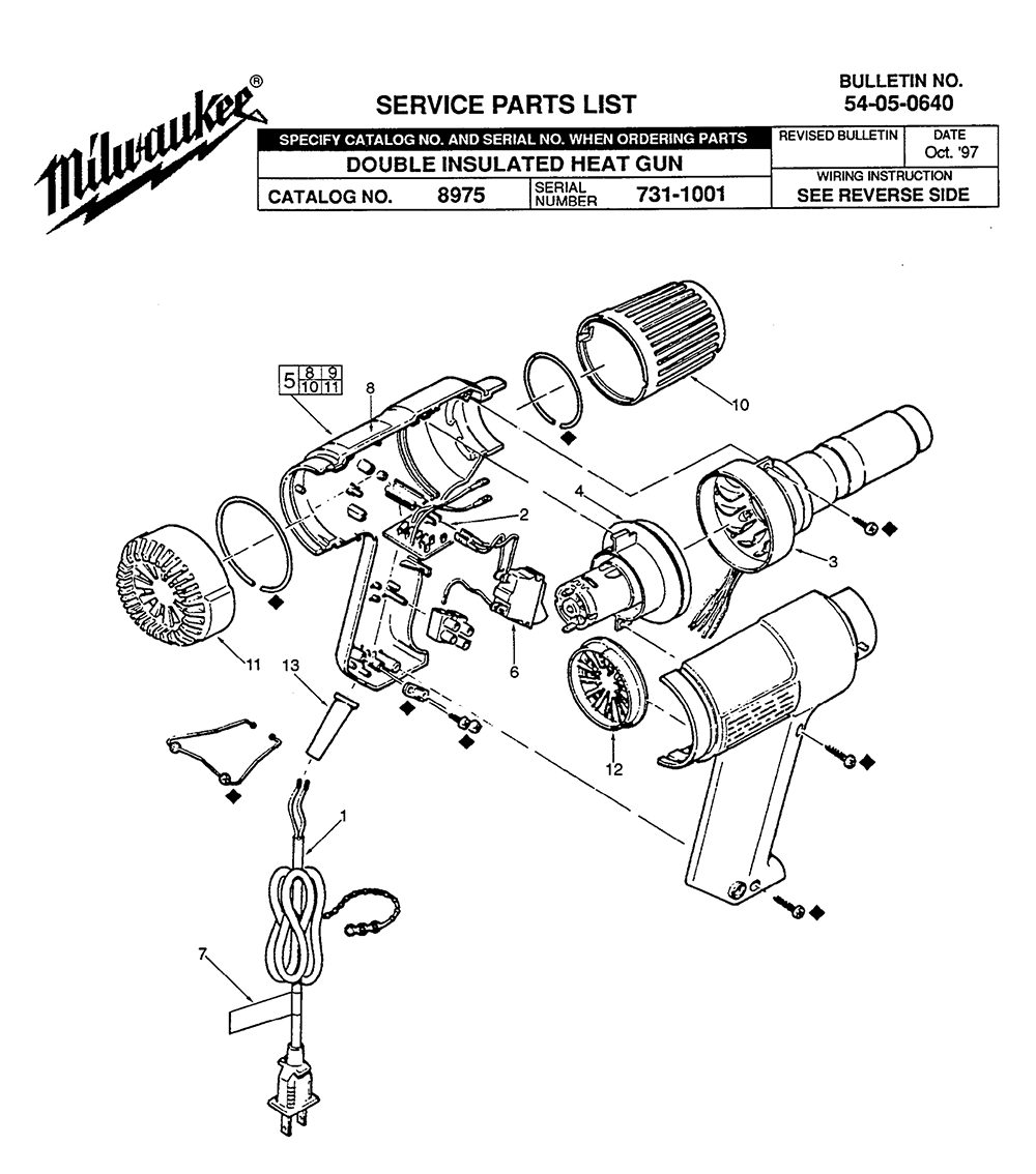 Buy Milwaukee 8975-(731-1001) Replacement Tool Parts