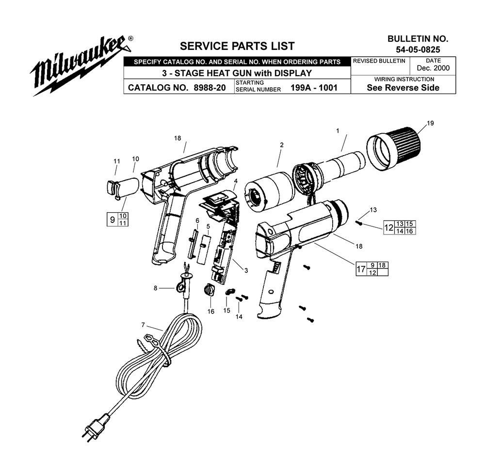 Buy Milwaukee 8985-(199A-1001) Replacement Tool Parts