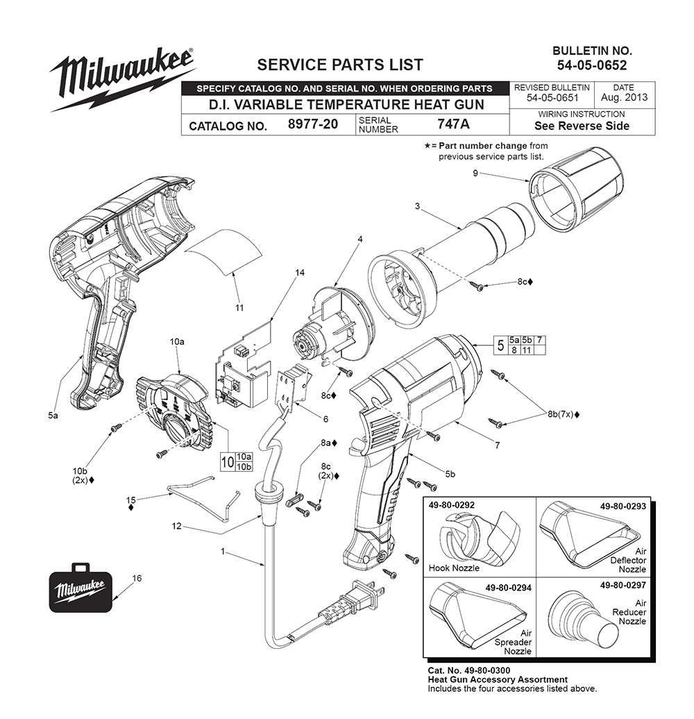 Buy Milwaukee 8985-(747A) Replacement Tool Parts
