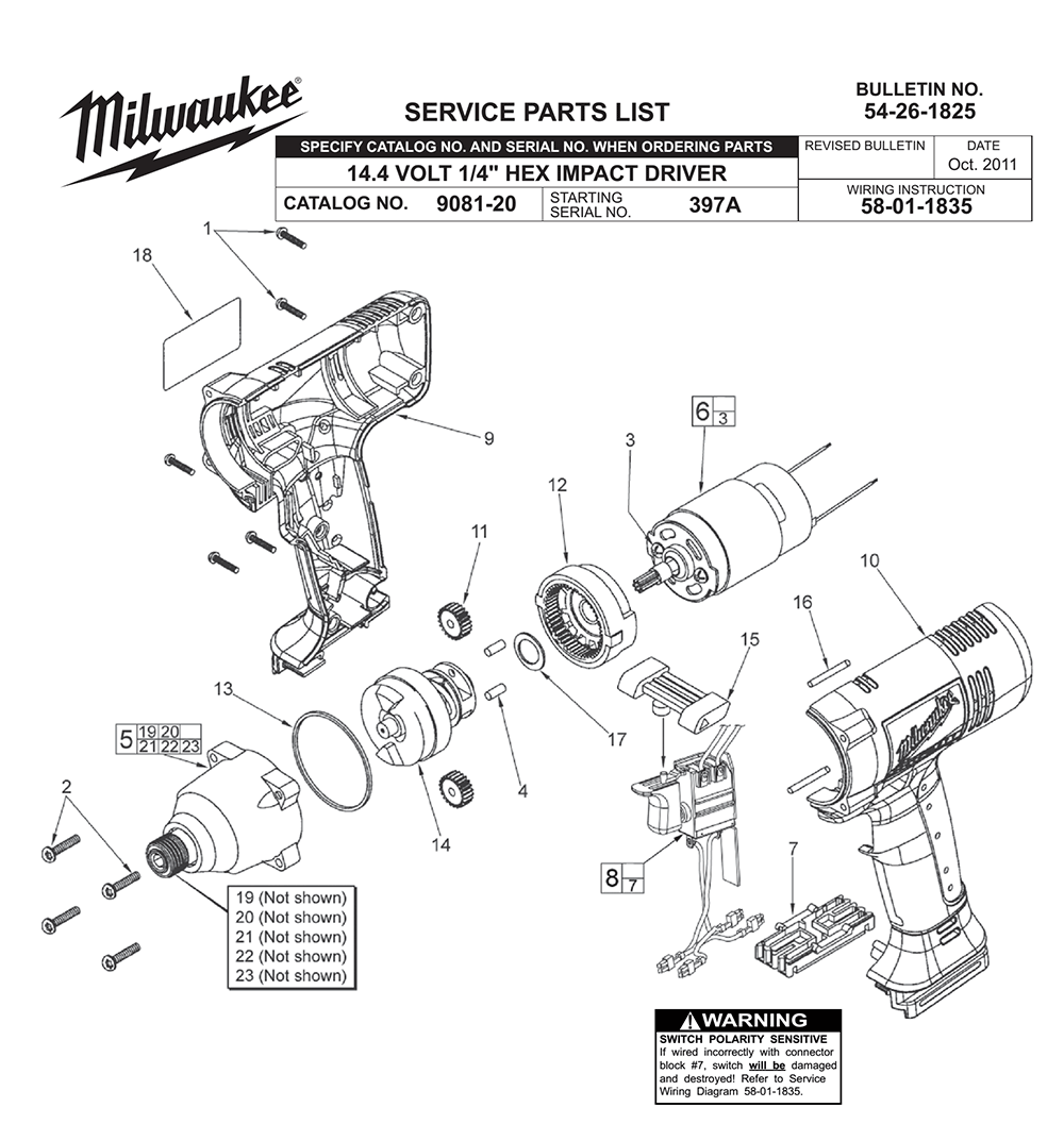 Buy Milwaukee 9081-20-(397A) Replacement Tool Parts