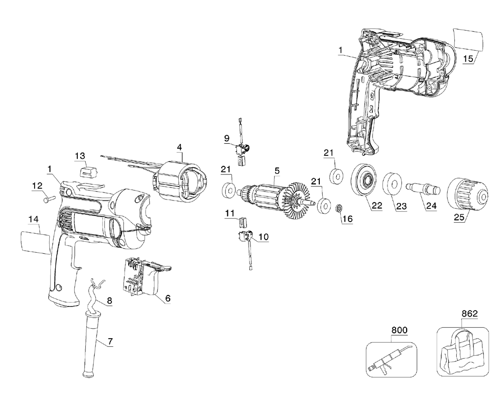 Buy Dewalt DWD110K Type-2 3/8 Inch 7.0 Amp VSR Pistol Grip