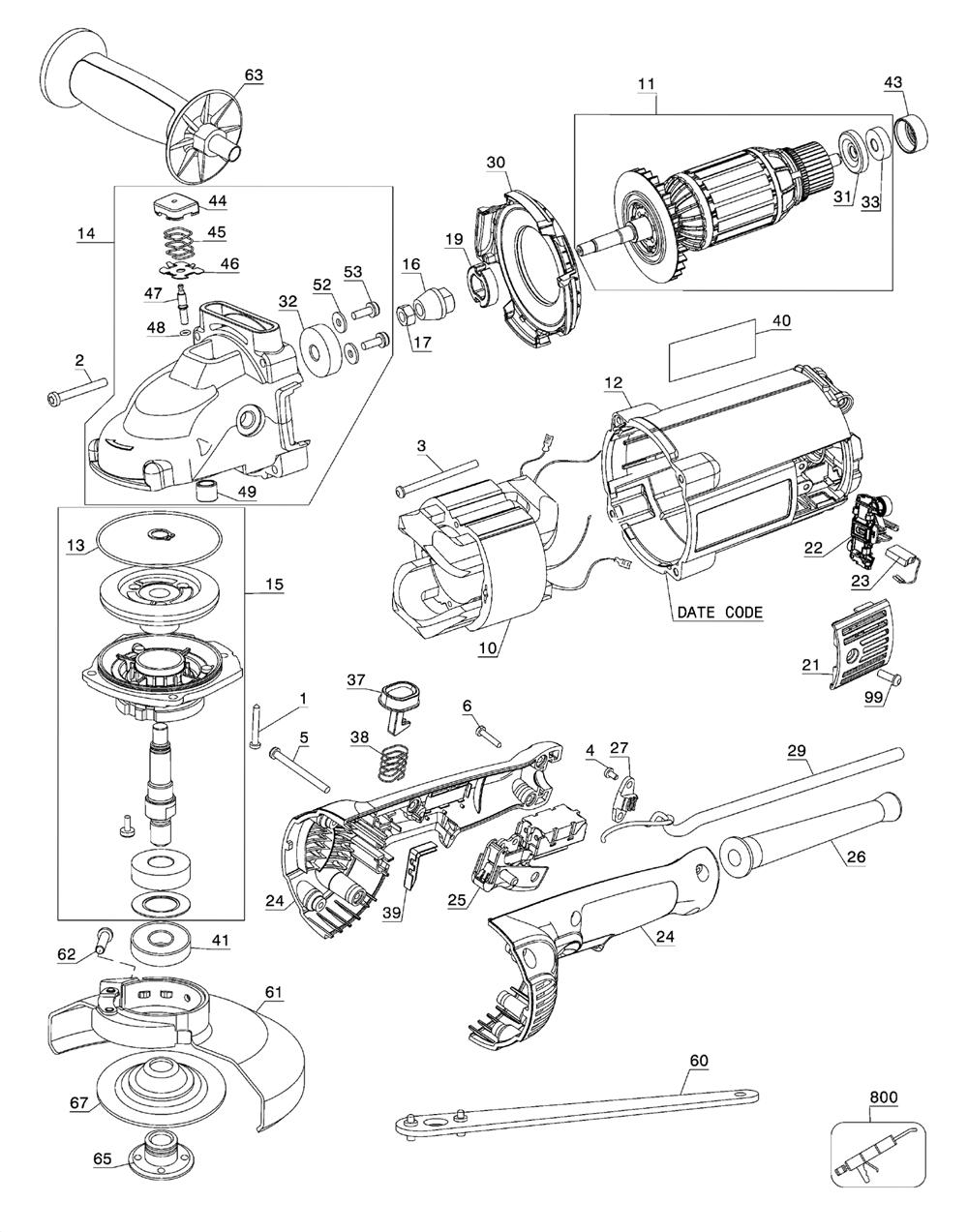 Buy Dewalt DWE4519 Type-5 9 Inch 6,500 rpm 4HP Angle