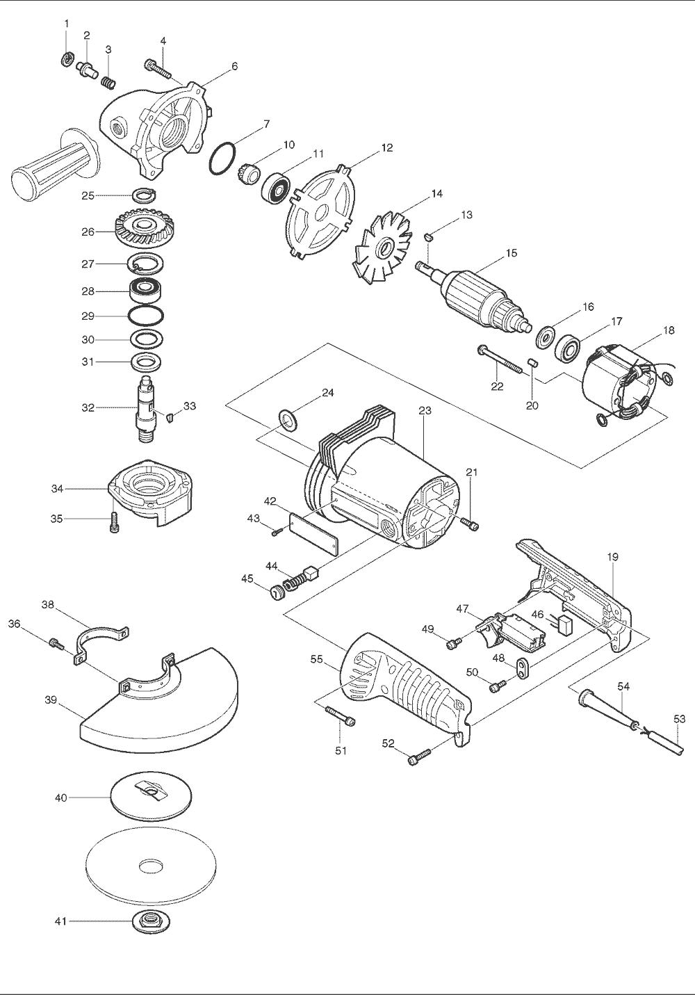 Buy Makita GA7001L 7 Inch AC/DC Angle Replacement Tool