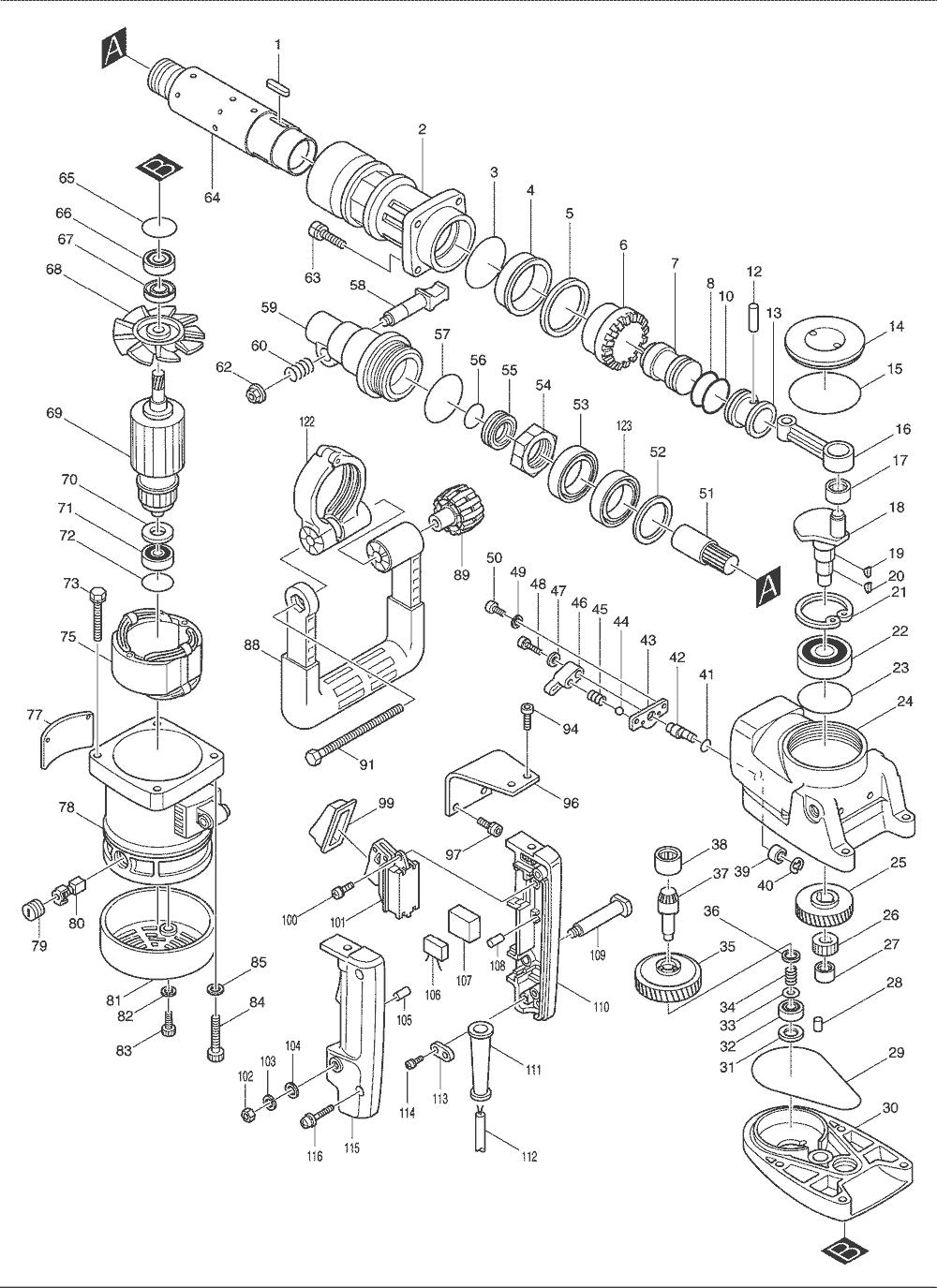Buy Makita HR5000 2 Inch Spline Shank, AC/DC Replacement