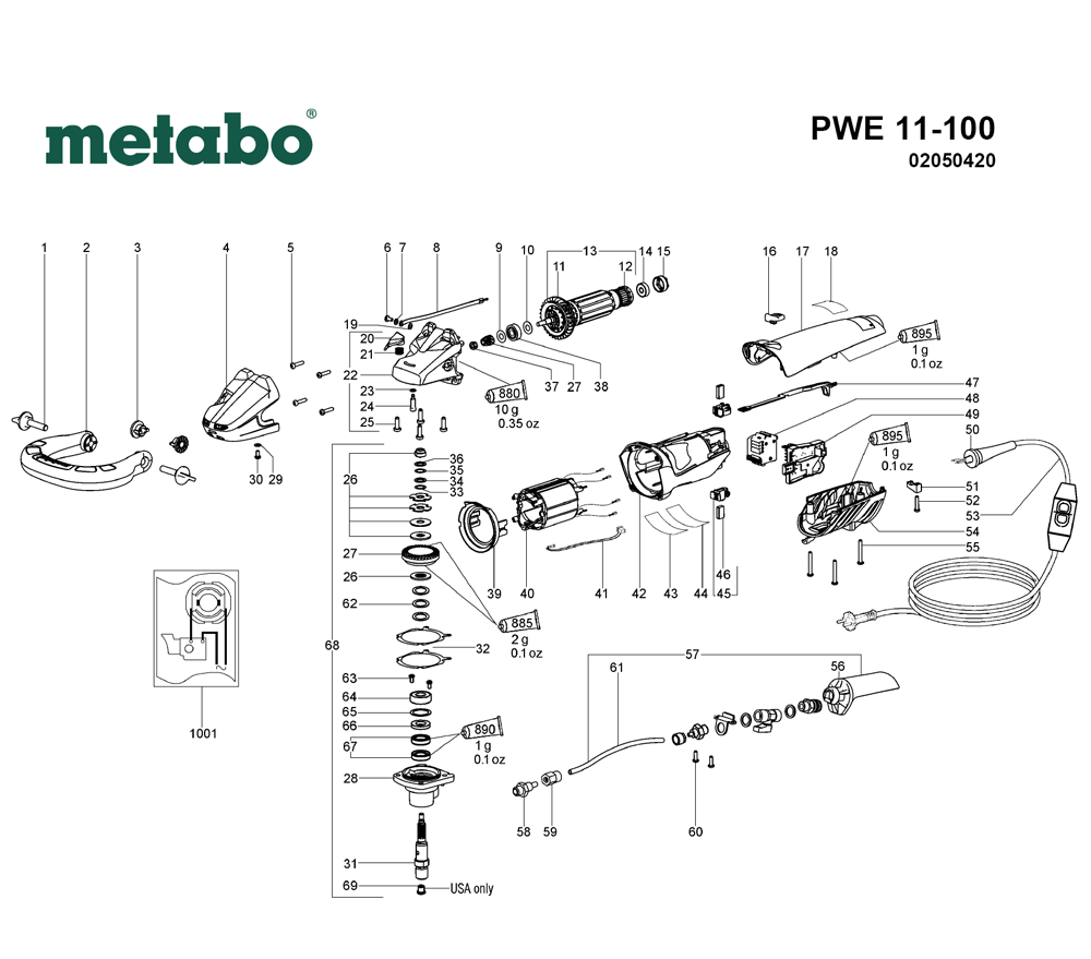 Buy Metabo PWE11-100-(02050420) Replacement Tool Parts