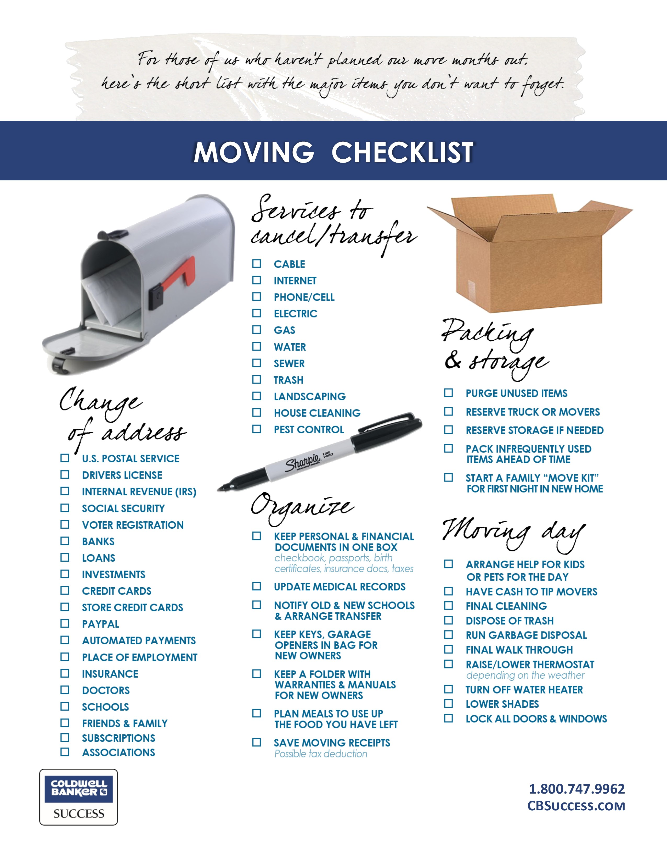 moving checklist buying a
