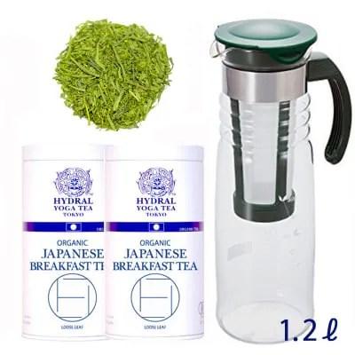 【水出しの季節・15セット限定】国産オーガニックティー2缶 + 1.2リットル簡単水出しボトル1個 セット|毎日1.2ℓ約1ヶ月半分|Organic Iced Tea Special Set|HYDRAL YOGA TEA TOKYO