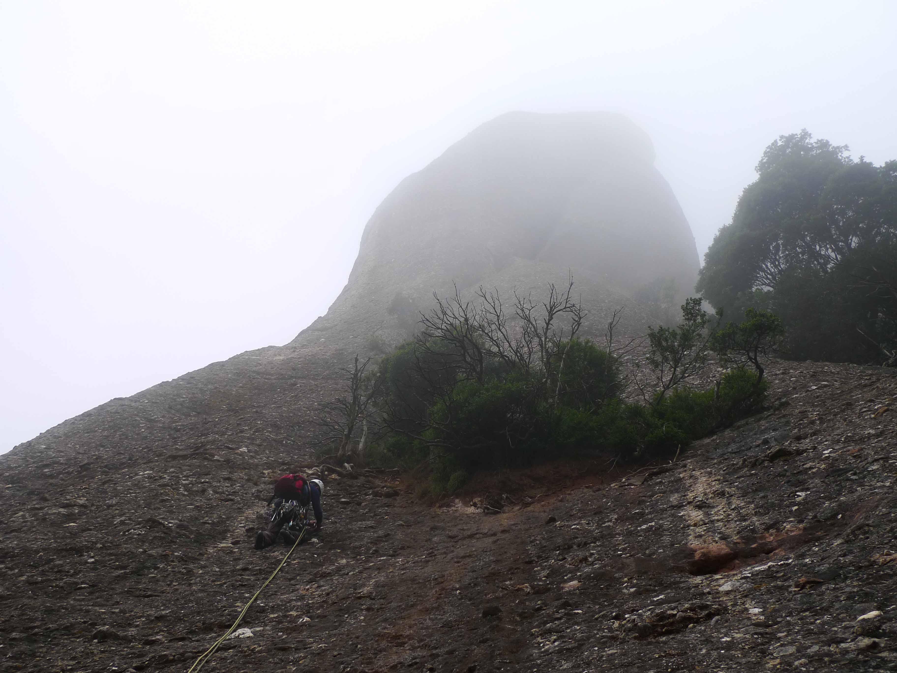 El bosc degota de boira pixanera i la roca és humida quan en Manel comença la via (III-IV).